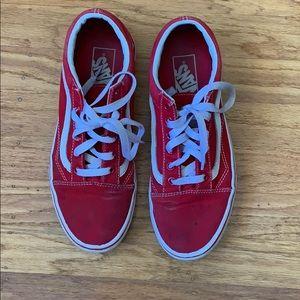 Red old school cotton Vans